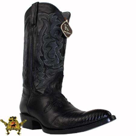 Buy AC-366 Mens King Exotic Teju Lizard Western Boot Black Saddle Vamp