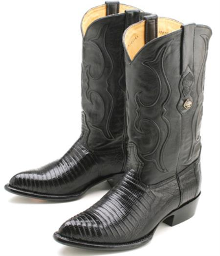 Black Teju Lizard Los Altos Men's Cowboy Boots Western Classics Riding