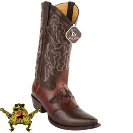 Buy AC-382 Mens King Exotic Teju Lizard Snip Toe Boots Brown