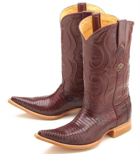 Teju Lizard Burgundy ~ Maroon ~ Wine Color Los Altos Men's Cowboy Boots Western Rider Style