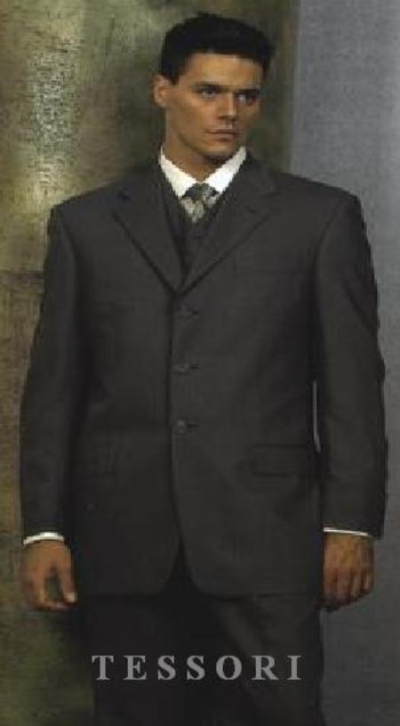 SKU# MXB129 $1295 Tesroy 3 Buttons Super 150s Wool Vested Darkest Charcoal Gray Side Vents $169