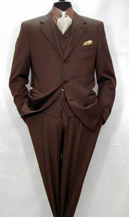 SKU#MXB129 $1295 Tesroy 3 Buttons Super 150s Wool Feel Extra Fine Poly~Rayon Vested Brown Side Vents