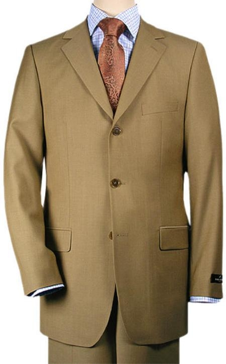 SKU# YZ92 Signature Platinum Stays Cool Tailored Bronz  Color 3 Buttons Double Vent  Super 150 Wool $195