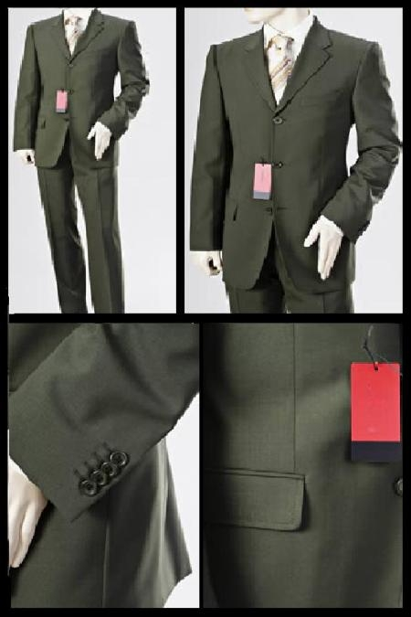 SKU# QWE173 Signature Platinum Stays Cool Tailored 3 Buttons Super150s Dark Green Business Mens Business premier quality italian fabric Suits $175