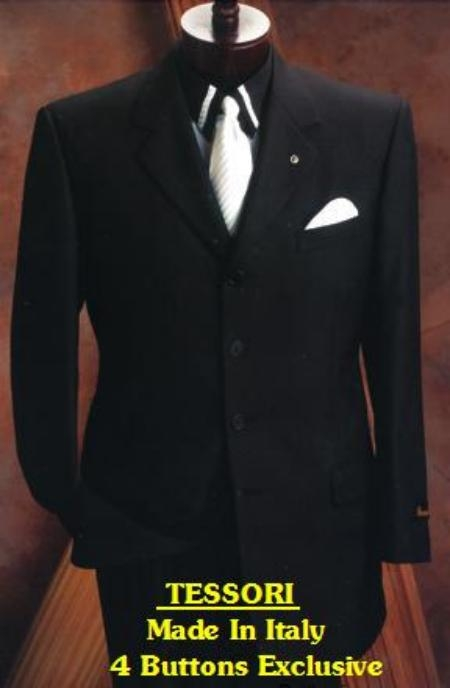 SKU# ZD650 Tessori Black Double Vent Pick Stich 4 Buttons Mens Suits $199