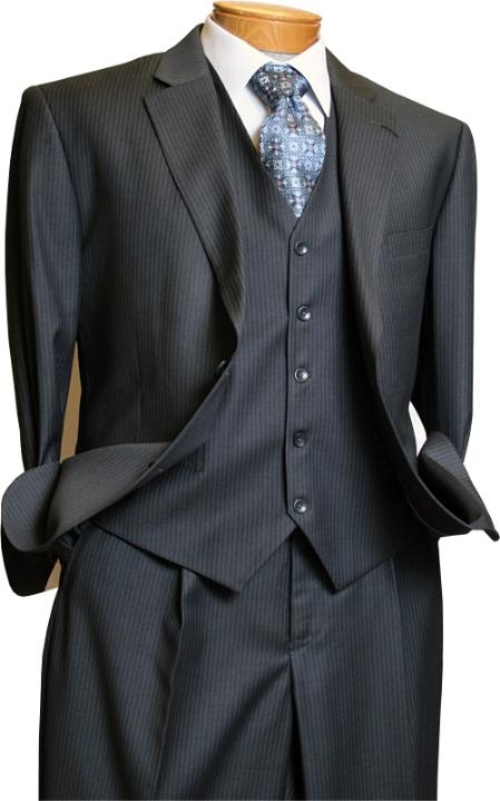 SKU#RV1290 Signature Platinum Stays Cool Discounted Sale Mens 3 Piece Grey Pinstripe Italian Design three piece suit