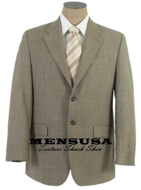 SKU# SBW-9 Texrurized Shark Skin Weave Pattern Mens Dress Tan-Taup-Green 2 Button wool $169