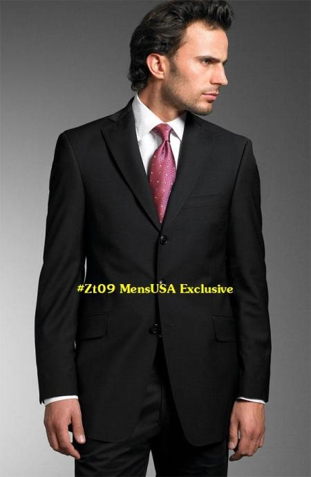 SKU# ZT09 The essential and ever-stylish black suit in a fine 140s wool for a quality look $139