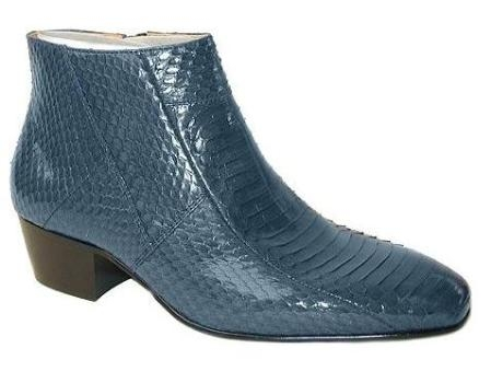 SKU#ZZ15549 The genuine snakeskin zip-boot Plain-toe 1 and 3/4 inch heel demi-boot $139