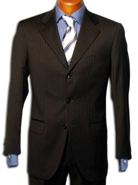 Strictly Business Black 2 or Three - 3 Buttons Style Black mini narrow pinstripe 100% Wool Suit