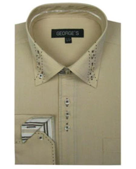 Beige 3 Button Collar Fashion Men's Dress Shirt