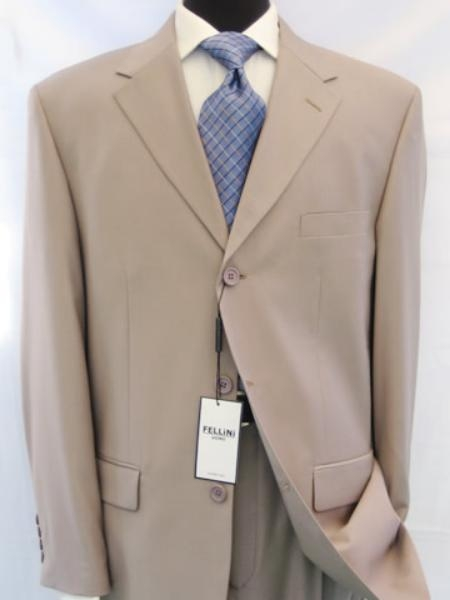 SKU# 3BW199 Beige/Tan ~ Beige Business premier quality italian fabric 100% Worsted Wool Higher Quality Men's Suits