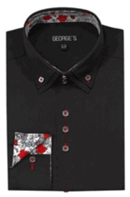 Buy SS-GQ24 Mens 3 Button High Collar Black George Shirts
