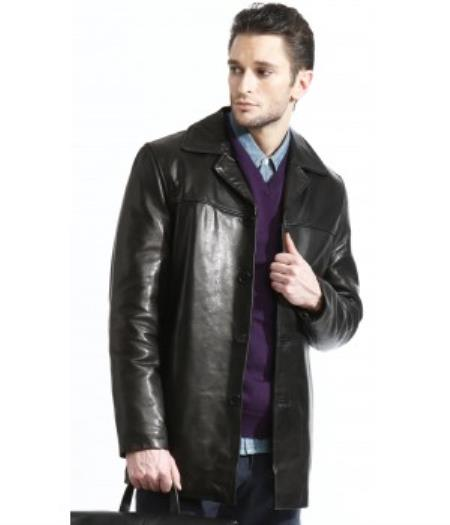Mens 3 Button 100% Lambskin Leather Fully Lined Jacket