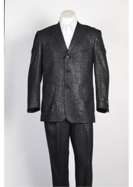 Mens 3 Button Single Breasted Shiny Paisley Floral Suit Black Blazer Looking