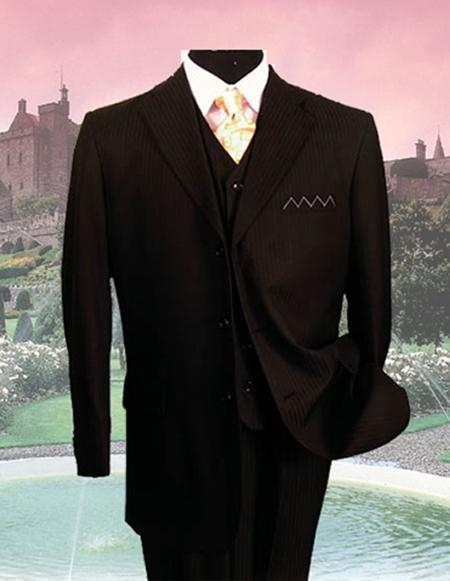SM08 Black On Black Tone on Tone Stripe Shadow  PINSTRIPE Three Piece Suit 2 or 3 buttons Vested Suits Side Vented 100% Wool