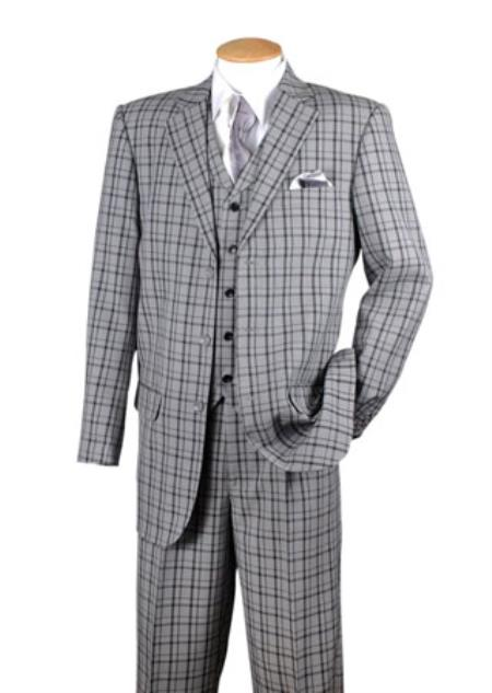 Buy SS-34 Mens Black 3 Piece Plaid Window Pane 3 button Vested Suits Pleated pants