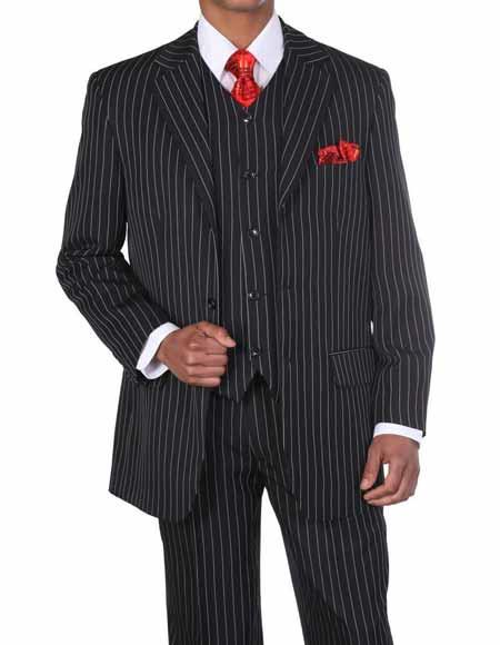 Mens 1920s 30s Fashion Look Available in 2 or Three ~ 3 Buttons Vested Pinstripe ~ Stripe 3 Piece Suit With Vest Bold Chalk Stripe Black/White