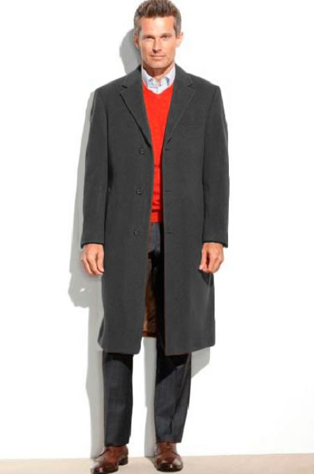 Mens Dress Coat 65% Wool full length Overcoat ~ Long Mens Dress Topcoat -  Winter coat (Cashmere Touch (not cashmere)) Black