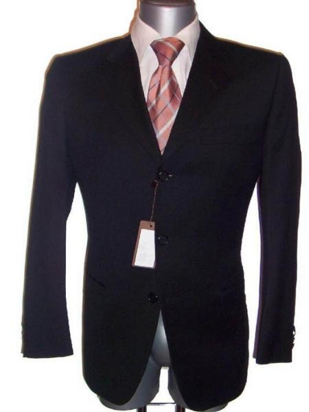 Fine Men's Dress Formal Jet Black Super Wool Suit year round