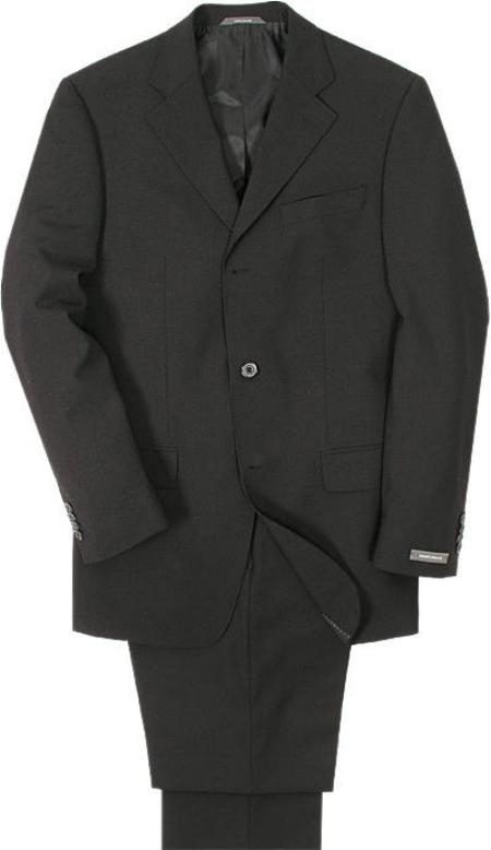 SKU# 3BW99 Mens Super 100 Wool Solid BLack 3 Buttons Mens Suit at
