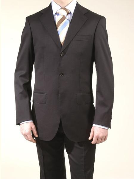 SKU# V2FK Mens premier quality italian fabric 3 Buttons Double Vent Liquid Black Super 120 Wool