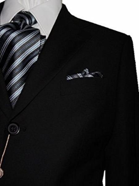 Bertolini Silk & Wool Fabric Notch Lapel 3 Button Solid Black Suit