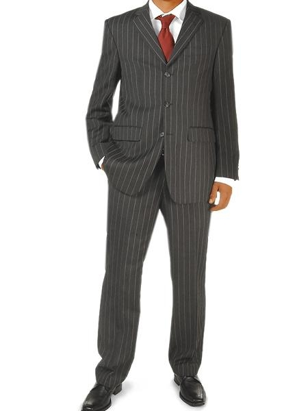 1900s Edwardian Men's Suits and Coats Black Pinstripe 1 Real Wool 3 buttons Mens business Suit $149.00 AT vintagedancer.com
