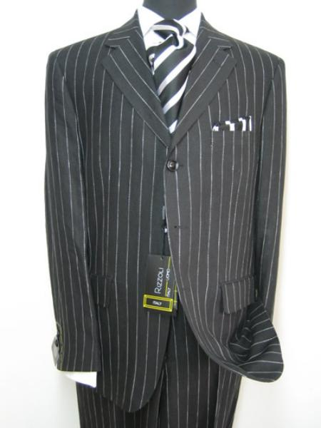 Celebrity Jet Black Pinstripe Rayon Fabric 1920s 30s Fashion Look Available in 2 or Three ~ 3 Buttons Bold Chalk Stripe italian fabric Design