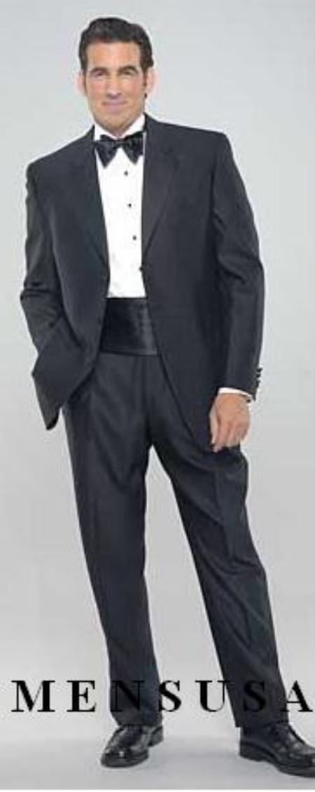 Black 3 Button Tuxedo Super 140s Wool Jakcet + Pants + Shirt + Bow Tie + Any Color of your Choice CUMMERBUNDS