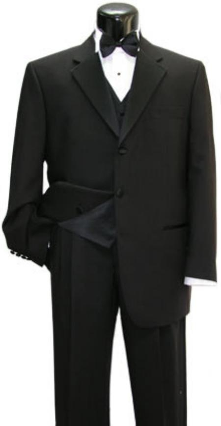SKU# LQ632 Fabrini Tuxedo Shirt & Bow tie + Vest + premier quality italian fabric Super 150 Wool Tuxedo Suit