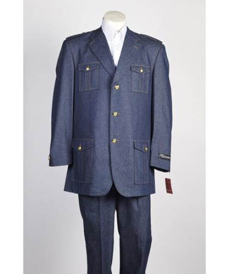 Mens 3 Button Denim Fashion Suit in Blue