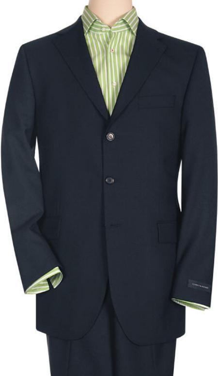 SKU# 3B9W Three Button Style Notch Lapel Dark Blue premier quality italian fabric 3 Button Super 150's Wool