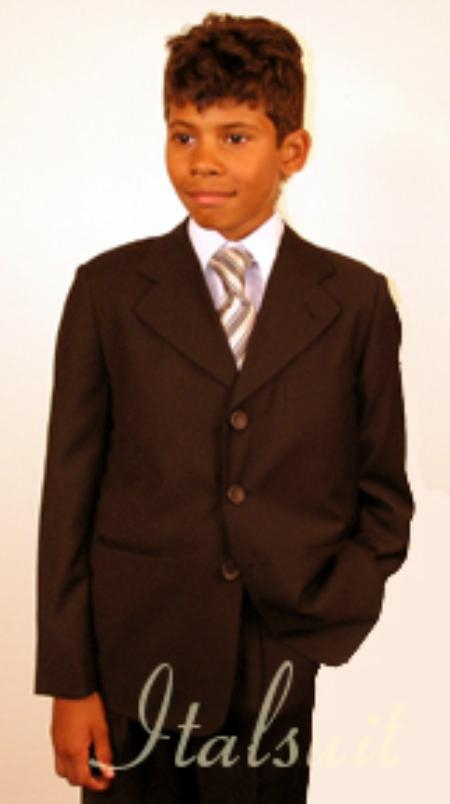 Three Button Kids Sizes Brown Suit Perfect for toddler wedding  attire outfits