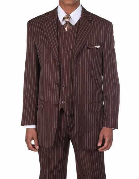 Mens Brown/White 1920s 30s Fashion Look Available in 2 or Three ~ 3 Buttons Vested Pinstripe ~ Stripe 3 Piece With Vest Bold Chalk Stripe Suit