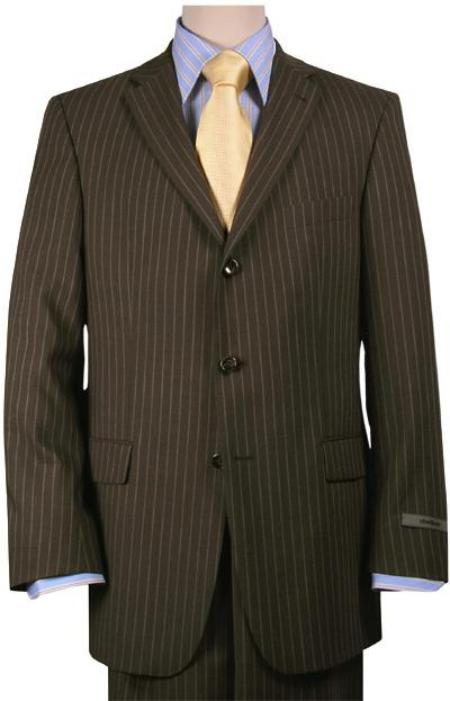 Brown Pinstripe Feel Poly~Rayon Three ~ 3 Buttons Suit Pleated Pants