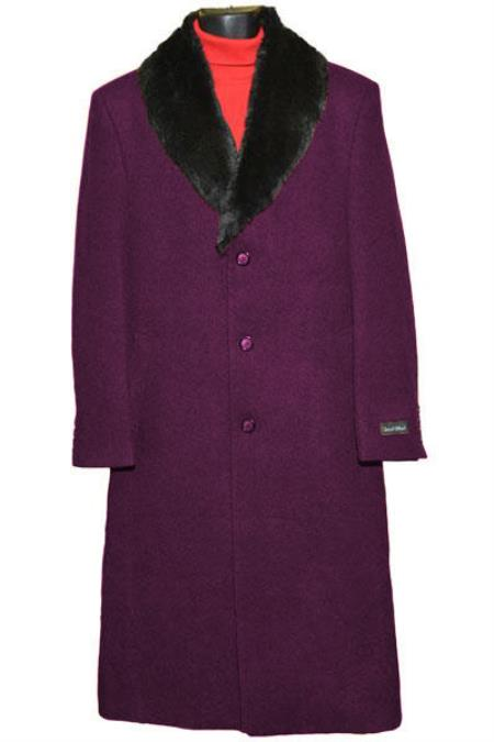 Buy Coat-03SM4426 Men's (Removable ) Fur Collar 3 Button Burgundy Single Breasted Wool Full Length Overcoat ~ Topcoat 65% Wool full length Fabric Also