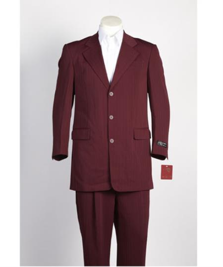 Mens 3 Button Single Breasted Burgundy ~ Wine ~ Maroon Color Shadow Stripe Pinstripe Suit