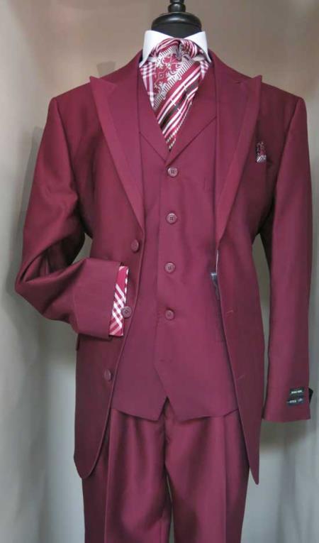 Mens Single Breasted Vested Suit Jacket With Contrasting Darker Burgundy ~ Wine ~ Maroon Suit  Peak Lapel Burgundy  Suit