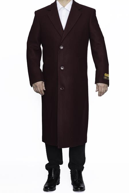 Mens Dress Coat Full Length Wool Dress Top Coat / Overcoat in Burgundy ~ Wine ~ Maroon Color Authentic Reg:$700 Designer Alberto Nardoni Brand now on Sale