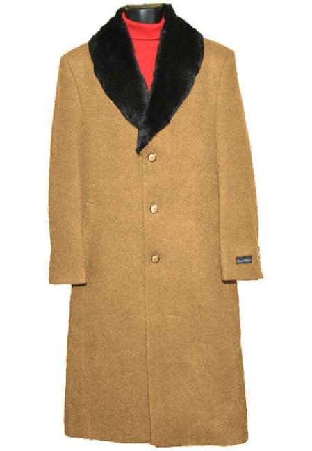 Mens Dress Coat (Removable ) Fur Collar Camel 3 Button  Wool Full Length Overcoat ~ Long Mens Dress Topcoat -  Winter coat 65% Wool full length Fabric Also