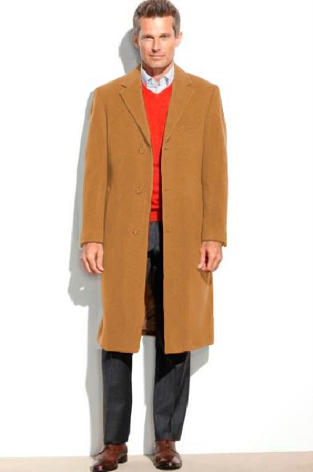 Camel Mens Dress Coat 65% Wool full length Overcoat ~ Topcoat (Cashmere Touch (not cashmere))