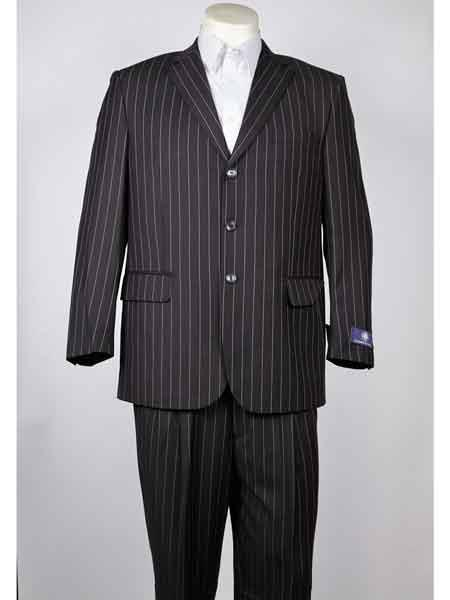 Button Charcoal Mens Pinstripe