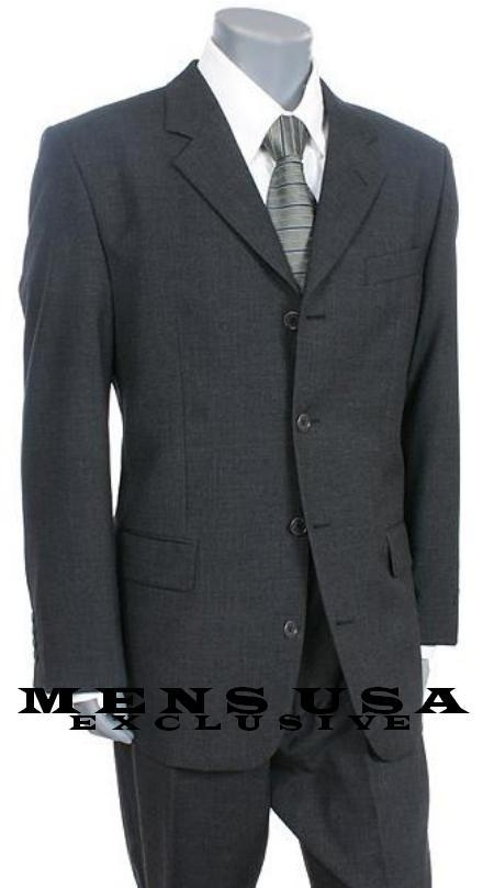 SKU# CLK23 High Quality Nicest Charcoal Gray 4 Buttons Mens Worsted Light Weight Wool