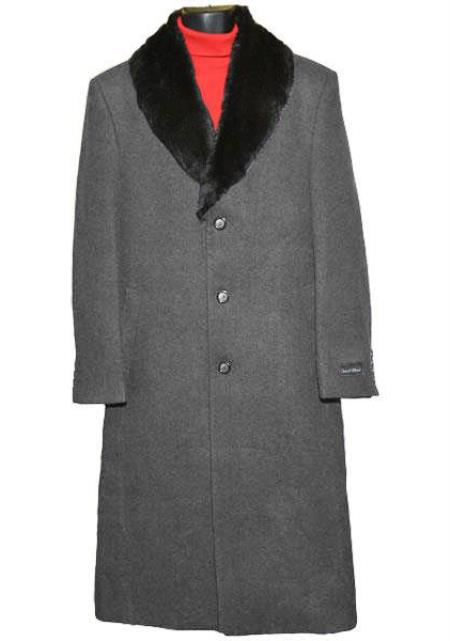 Buy Coat-03SM4428 Men's (Removable ) Fur Collar 3 Button Single Breasted Charcoal Grey Wool Full Length Overcoat ~ Topcoat 65% Wool full length Fabric Also