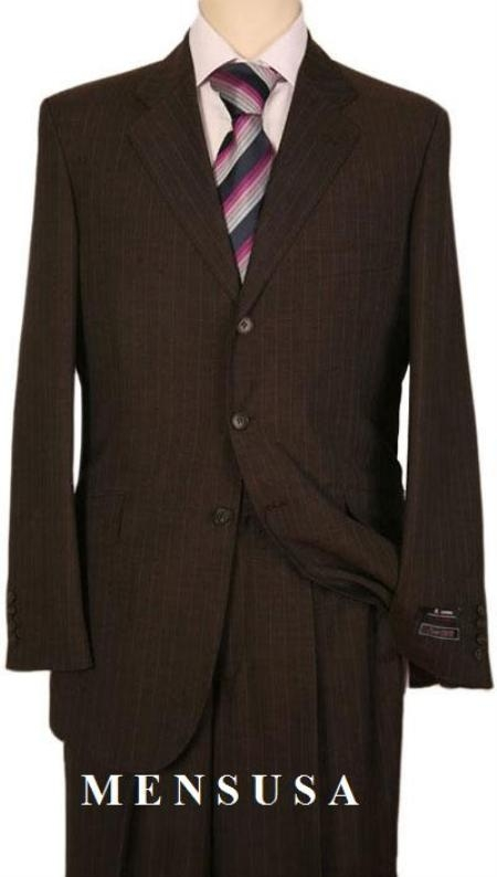 Mens Dark Brown Pinstripe Two ~ 2 buttons Stripe Flat Front Pants Regular Fit side Vented Super 100s wool feel poly~rayon