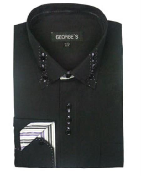 Buy SS-GQ28 Mens Black 3 Button Collar Fashion Dress Shirts