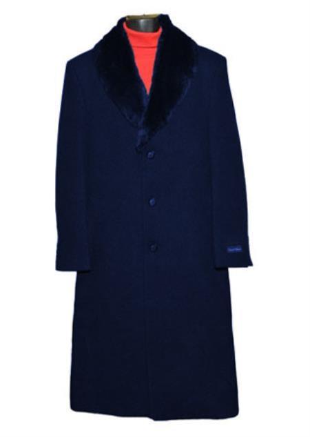 Mens Dress Coat Dark Blue Fur Collar Black 3 Button  Wool blend Full Length Overcoat