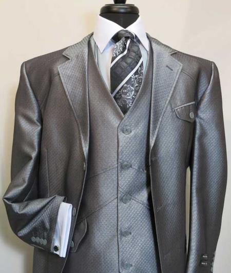 Mens Three Button  Vested Suit Jacket With Flap Pocket Silver Grey