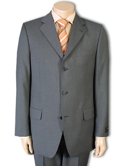 Mens Mid Gray 100% Pure Wool Feel Rayon Viscose (SUPER 120) Available in 2 or 3 Buttons Style Regular Classic Cut, All Colors